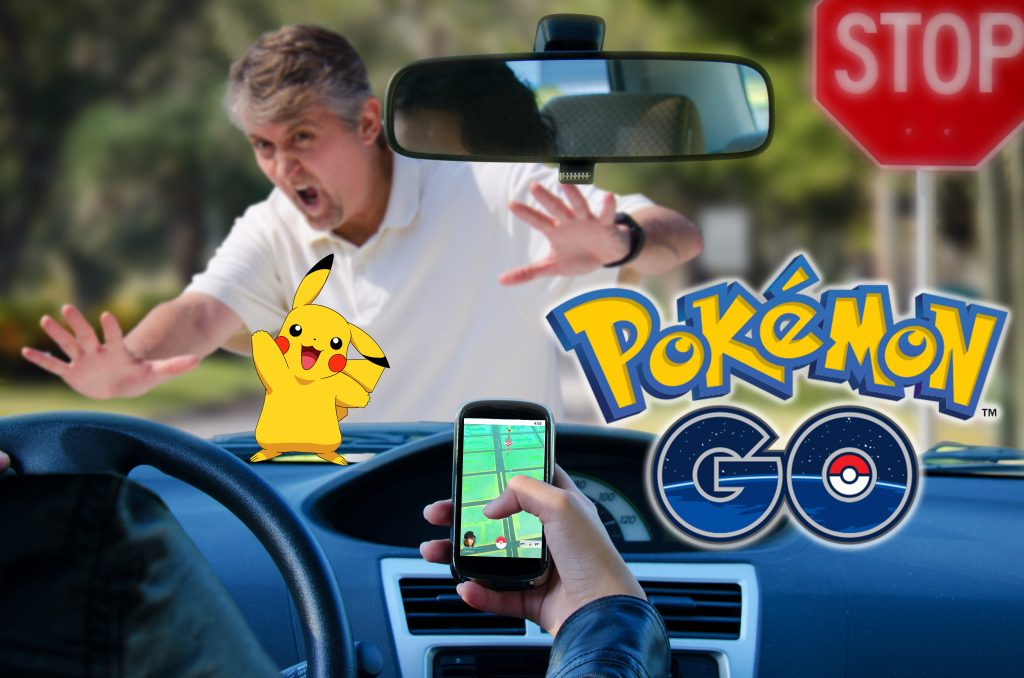An irresponsible Pokemon Go driver is about to run over a pedestrian while trying to catch a Pikachu.